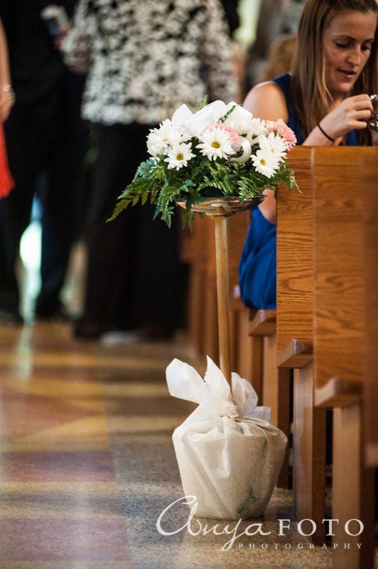 Wedding Ceremony Decor anyafoto.com #wedding, church wedding, indoor wedding, wedding ceremony decor ideas, flowers on pews, daisies on pews