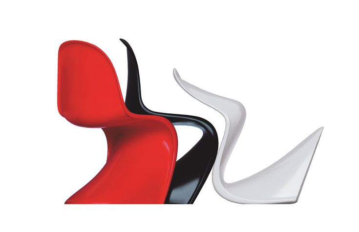 Your favorite all-purpose plastic chair moulded in a single piece!   By Verner Panton and Vitra