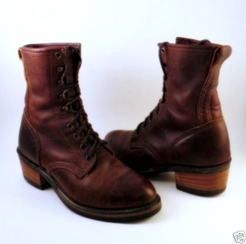 081d37518391 Womens Brown Leather DURANGO Lacing Boots Size 7.5 Tie Lace Up Mid Calf