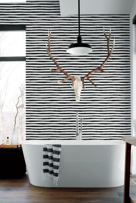 Black & White Wallpaper Monochrome wall decal Striped by BohoWalls