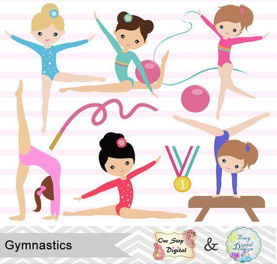 Instant Download Girls Gymnastics Digital Clipart f31e5299e4f4c