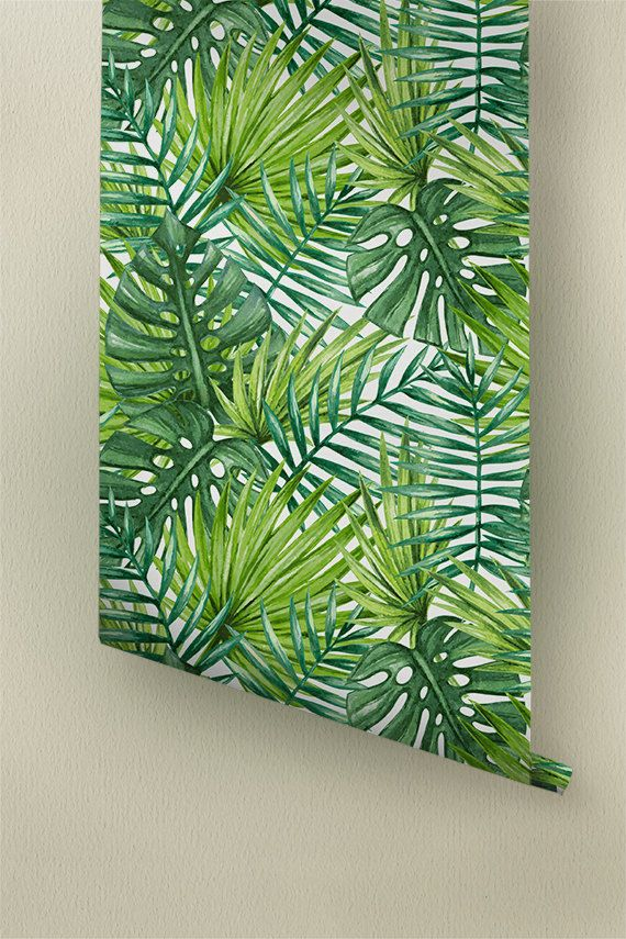 Watercolor Tropical Palm Leaves Wallpaper Tropical Removable