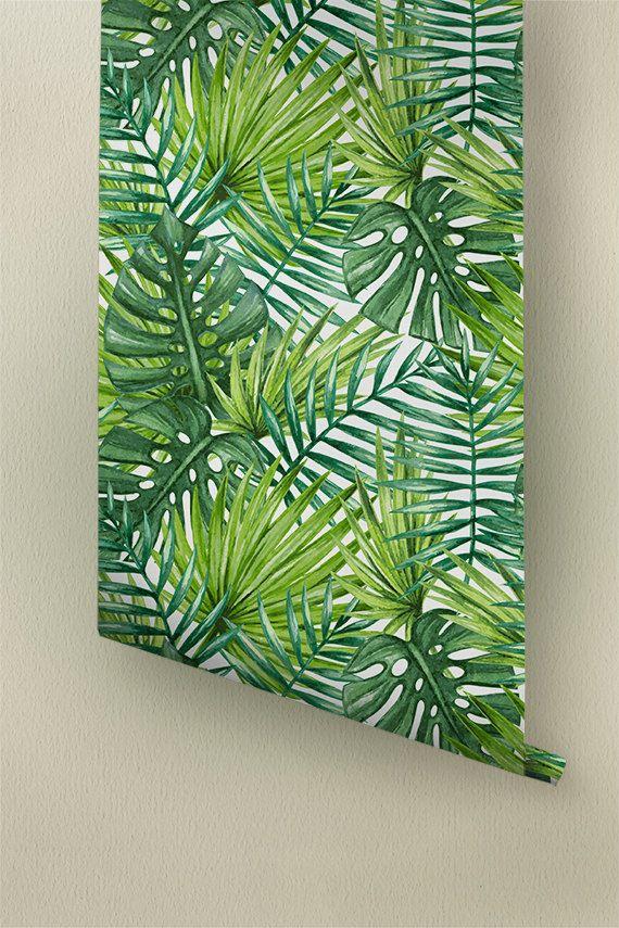 Palma tropicale dell'acquerello foglie carta da parati, tappezzeria tropicali rimovibile, Palm foglie decorazione murale, 278 di WallfloraShop