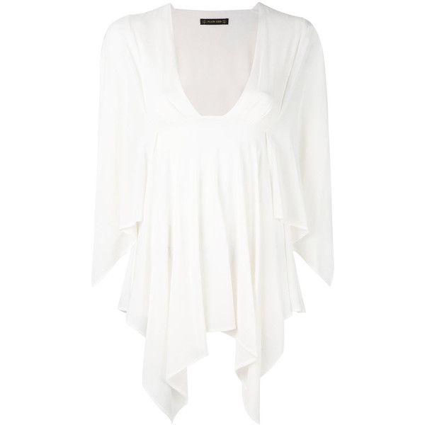 Plein Sud Batwing Tunic (43,610 INR) ❤ liked on Polyvore featuring tops, tunics, batwing tunic, white tunic, v neck batwing top, white batwing top and v-neck tops