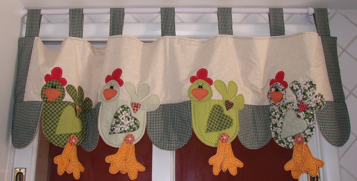 Cute kitchen curtains or towel borders