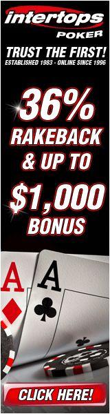 36% Rakeback & $1000 Bonus at Intertops Poker!
