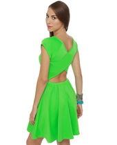 """Cross and Effect"" Neon Green Dress Lulu's"