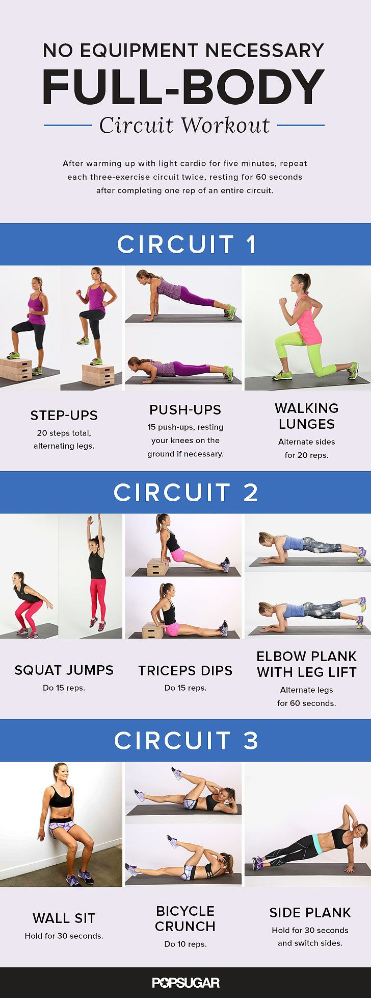Printable Full-Body Circuit Workout — No Equipment Needed ...