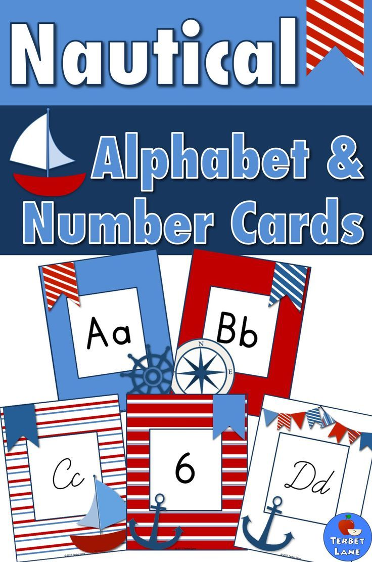 Nautical Alphabet Cards for word walls or alphabet lines. Includes cursive and print. includes number cards 0 - 20. #alphabet #wordwall #nautical