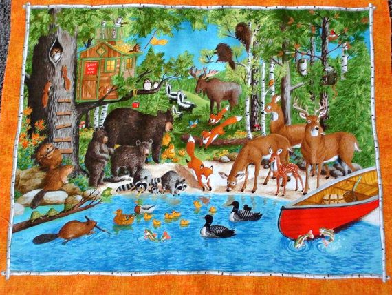 Woodland Animal Fabric Panel Forest Friends Fabric Bear