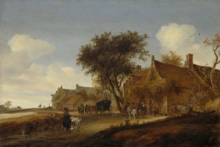 Salomon van Ruysdael : A village inn with stagecoach (Rijksmuseum) 1602-1670 サロモン・ファン・ロイスダール