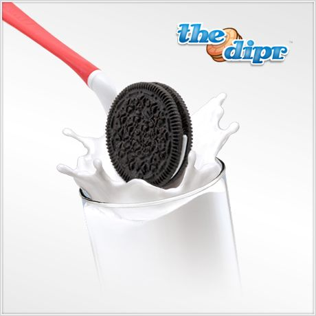 The dipr is a spoon that holds your sandwich cookie while you dip it in milk or other liquid. The dipr cradles the cookie by the cream and prevents the cookie from crumbling when dunked.