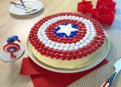 Des m&m's tricolores - Gâteau Captain America