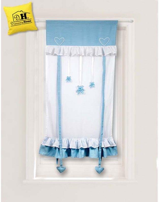 Tenda finestra Angelica Home & Country celeste bianca con orsetti pendenti 60 x 160 cm