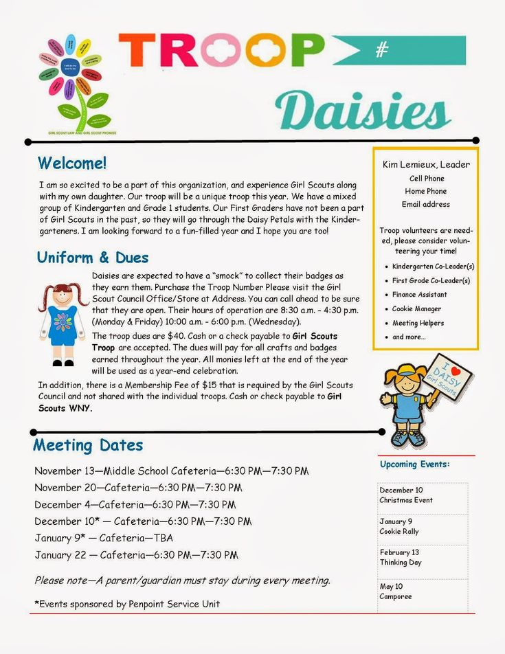 Daisy Troop Parent Newsletter template                                                                                                                                                                                 More