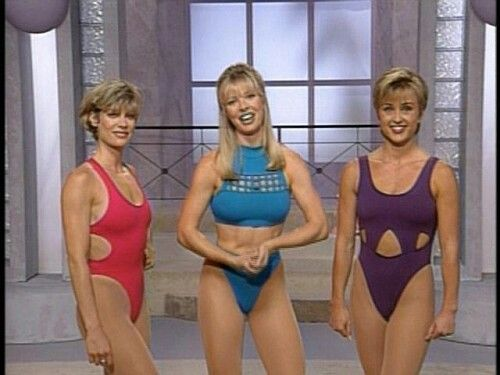 women in thongs aerobics