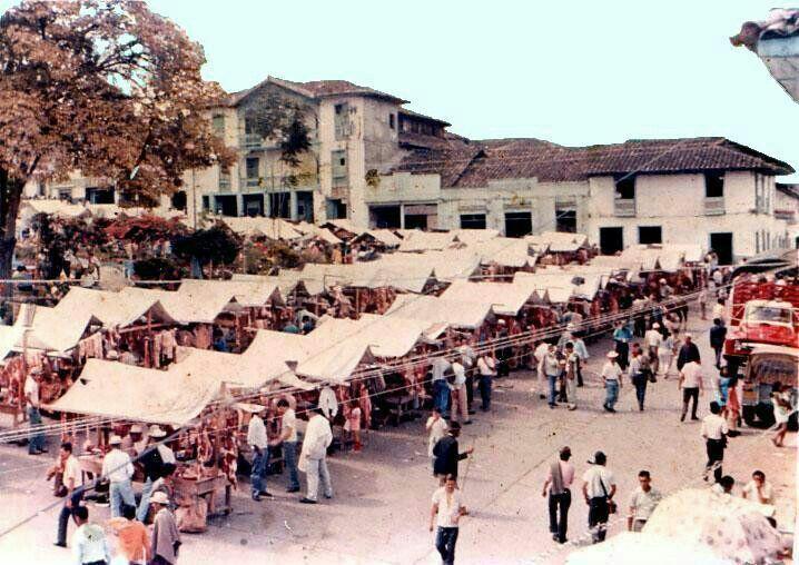 BELEN DE UMBRIA plaza de mercado años atrás. Población y municipio de Colombia en el departamento de Risaralda.