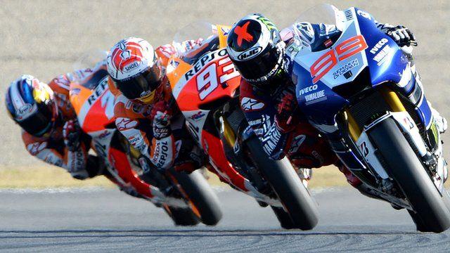 Jorge Lorenzo leads Marc Marquez and Dani Pedrosa at Twin Ring Motegi