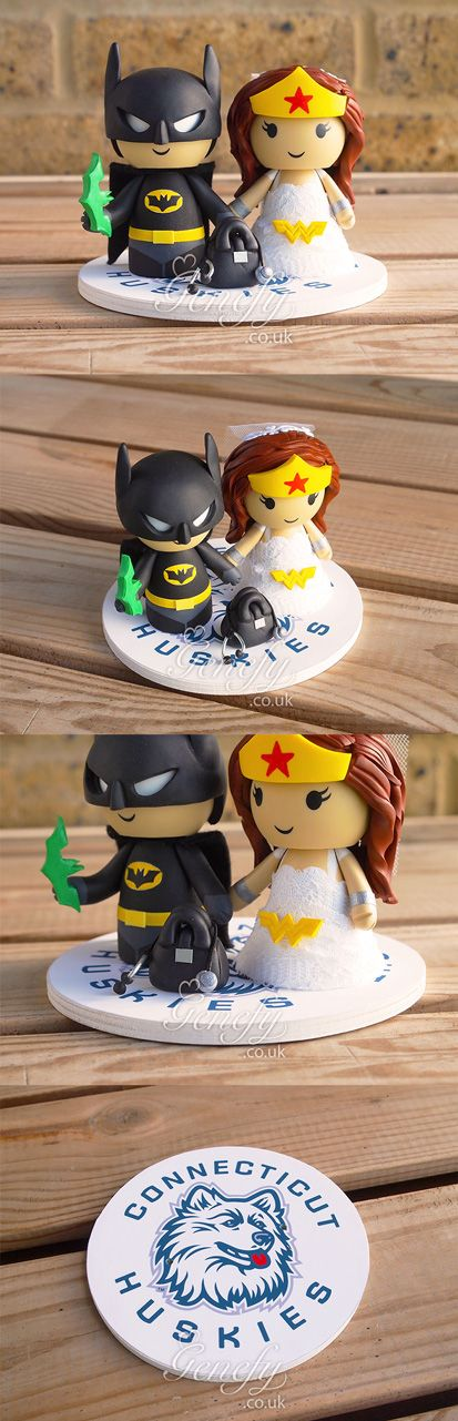 Batman groom with kryptonite batarang and Wonder Woman in lace gown with doctor bag - Connecticut Huskies base wedding cake topper by GenefyPlayground  https://www.facebook.com/genefyplayground