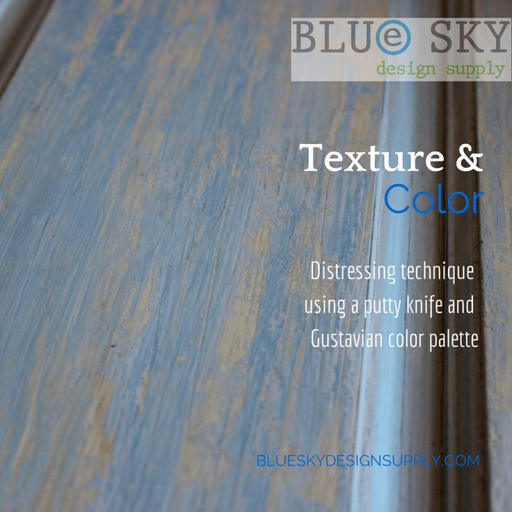 Distressing paint gives a feeling of age and history. At Blue Sky we love to play with color and texture. For this sample board, we put away the sandpaper and crackle mediums and opted to simply us...