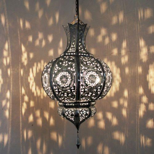 Lampada-Orientale-Lanterna-Marocchina-Luce-a-sospensione-ARGENTO-DI-NELSON