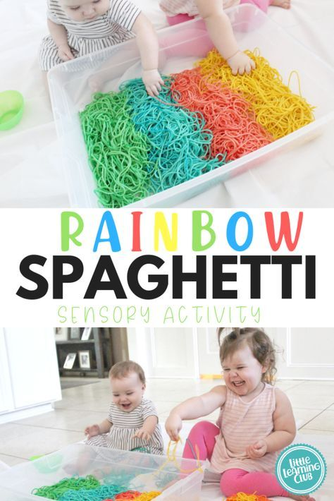 Rainbow Spaghetti Sensory Activity – Little Learning Club Rainbow Spaghetti Sensory Activity – Little Learning Club,Fun Activities for Kids Colored Spaghetti! Sensory activities for both toddler and babies. This was such an inexpensive DIY. Activities For 1 Year Olds, Sensory Activities Toddlers, Infant Activities, Fun Activities, Play Activity, Toddler Activities For Daycare, Baby Activites, Crafts For 2 Year Olds, Outdoor Activities For Kids