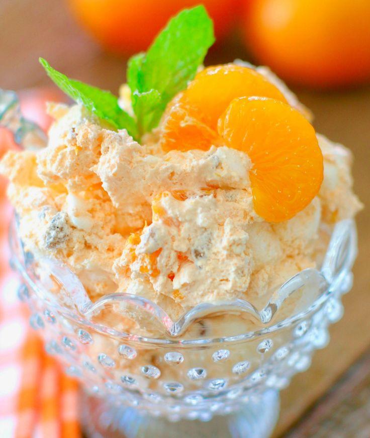 "Orange Fluff also called Orange Delight, Weight Watchers Dessert, or ""The Orange Stuff."" Cool Whip, Mandarin Oranges, Jell-O and marshmallows!"