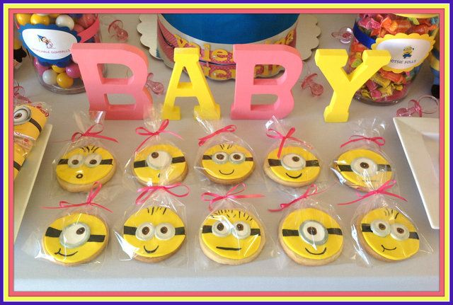 Cookies at a Despicable Me Baby Shower #babyshower #despicableme