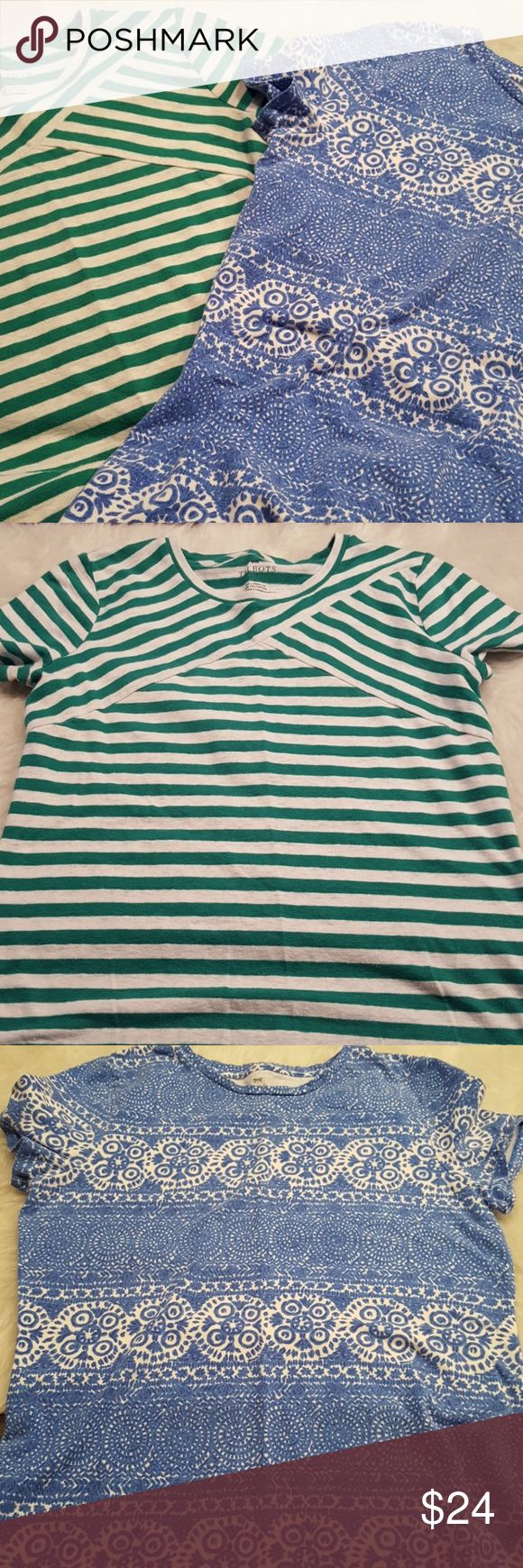 JUST IN🔶️Talbots Small Petite Tees Cotton, comfy, stylish. Green/white stripe and blue/white tile mosaic pattern. Short sleeves. 23in long. 17in bust flat. Talbots Tops Tees - Short Sleeve