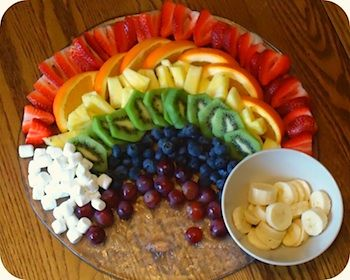 "Fruit rainbow (with a pot of gold)! I'm putting this in my ""ideas"" board and not my food one, because I'll be using this as a way to get my kids to eat fruit."