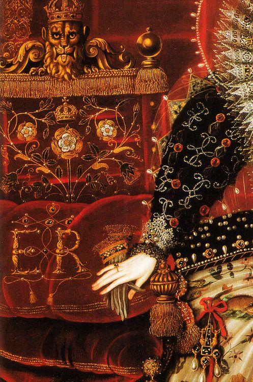 jaded-mandarin:  Nicholas Hilliard. Detail from Portrait of Elizabeth I of England, 1599.
