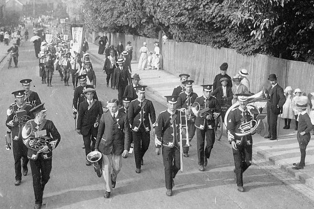 Badshot Lea Brass Band in 1914. Thomas Sawkins and Ernest Holdup were killed in World War One, Holdup is the trombonist in the front row. He died In the Batttle of the Menin Road in 1917.
