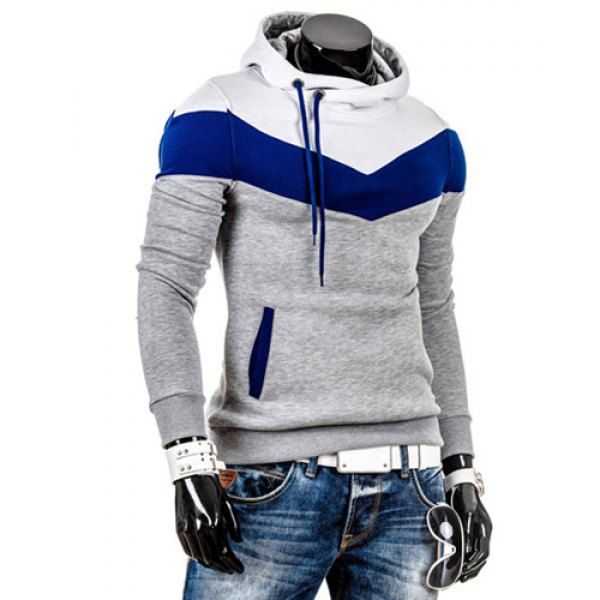 Slimming Trendy Hooded Personality Color Splicing Long Sleeves Men's Thicken Hoodies, LIGHT GRAY, M in Hoodies | DressLily.com