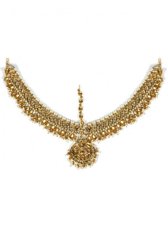 Gold finish kundan studded matha patti outlined with pearls