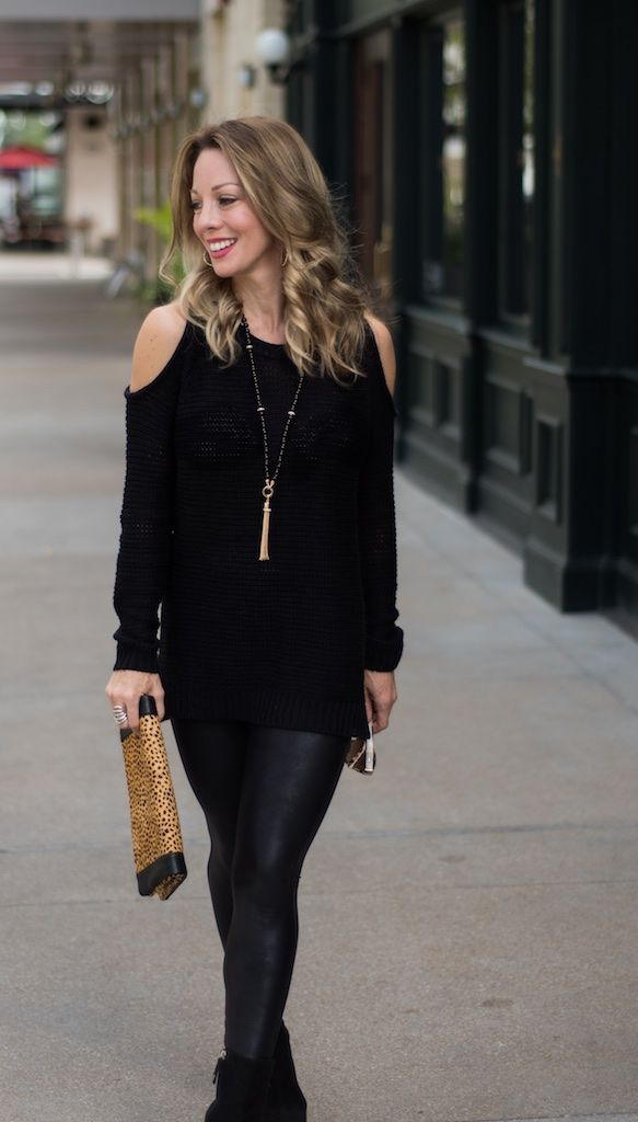 30 Cold Weather Outfit Ideas Cold Shoulder Sweater Faux Leather Spanx Legging Leopard Clutch
