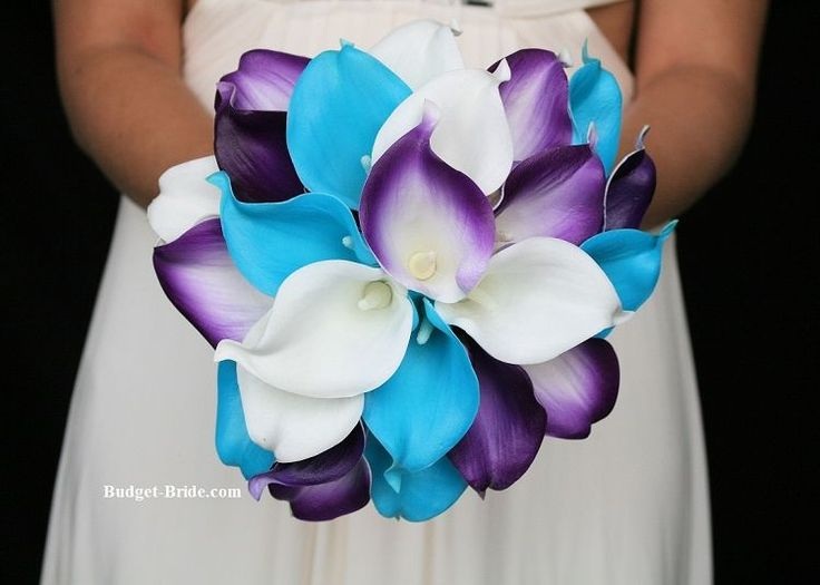 Turquoise and Purple Wedding Flowers