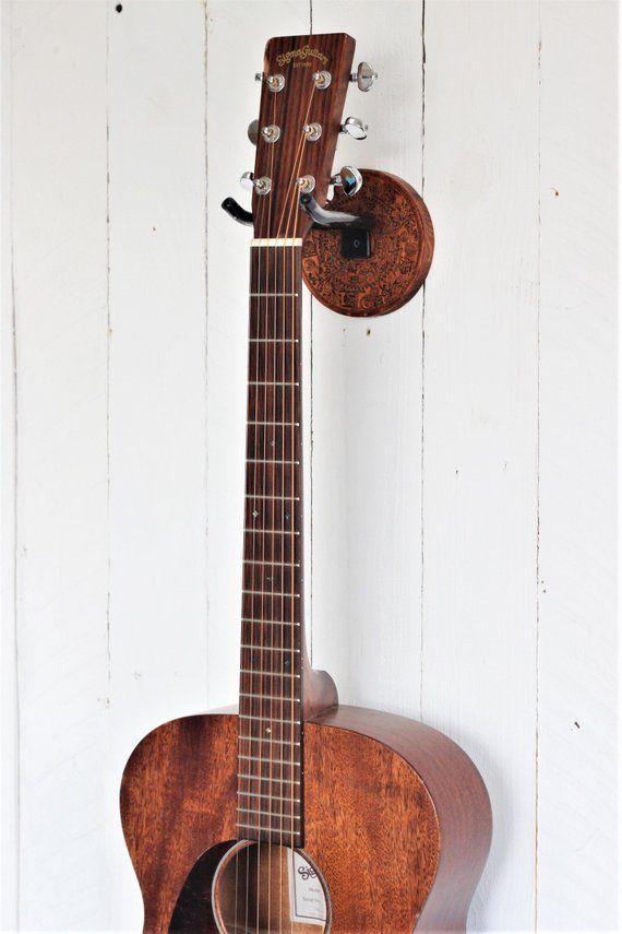 Guitar Wall Mount Etch Wood Sea Life Mandala Wall Hanger Etsy Guitar Wall Hanger Guitar Wall Wall Hanger