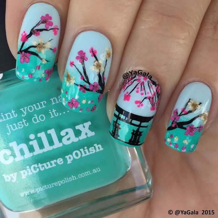 piCture pOlish 'Chillax + Sky' cherry blossom nails by Yagala LOVE so pretty thank you! www.picturepolish.com.au