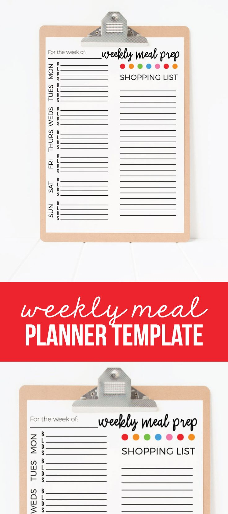 Weekly Meal Planner Template Printable - download and print this free weekly plan to help organize for meals! from www.thirtyhandmadedays.com
