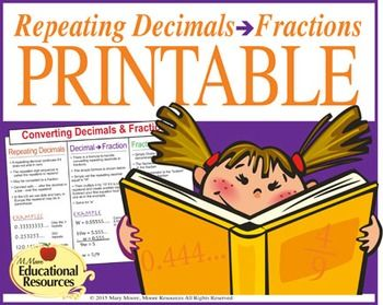 The perfect handout to glue in interactive notebooks on repeating decimals.   Engage your students with this excellent Repeating Decimals to Fractions and Fractions to Decimals Reference Sheet for middle schoolers learning about the Number System!  Great for interactive notebooks and for reference.