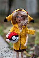 Papillon en papier: Pikachu girl - free crochet doll pattern