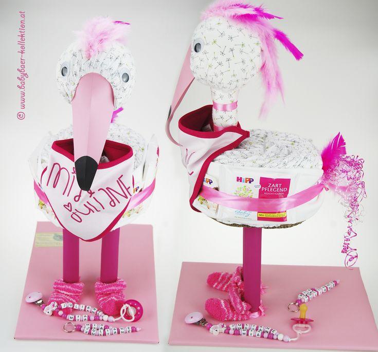 Exklusive Windeltorte – Flamingo Diese exklusive Windeltorte in Form eines …   – Windeltorte