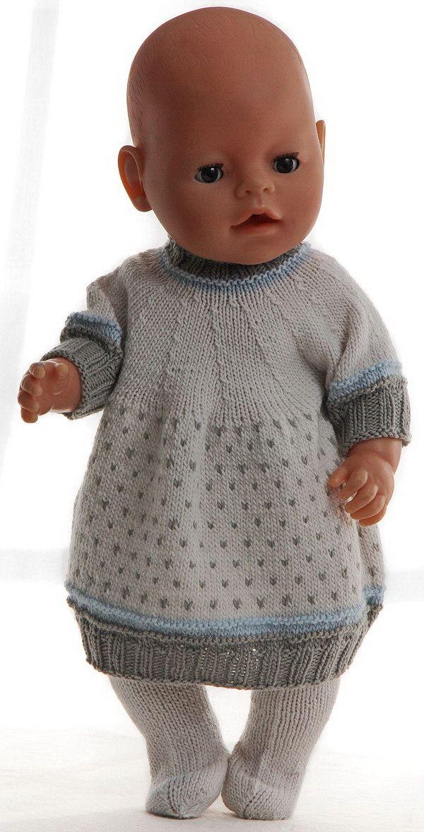 Puppensachen Stricken Anleitung - Wunderschönes Kleid mit Jacke in schönen klaren Farben