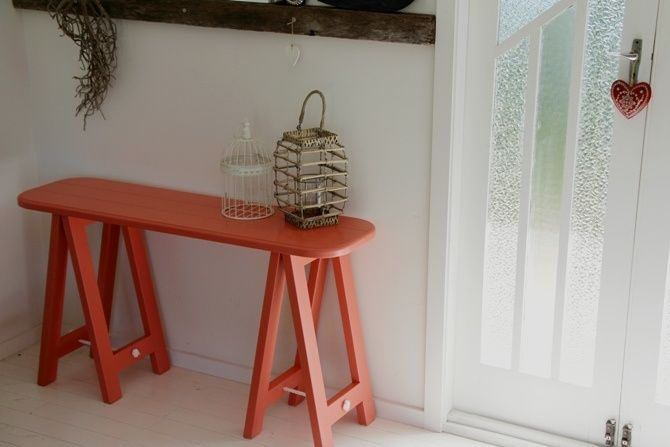 Kiss Me Coral trestle table by Plank and Trestle - www.plankandtrestle.com.au
