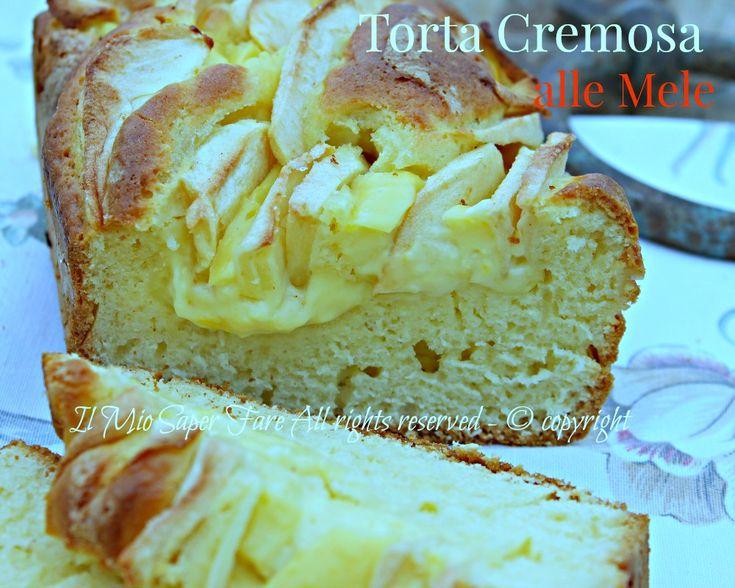 Torta di mele cremosa soffice senza burro: golosa!!Crema pasticcera e fette di mele che conferiscono un gusto particolare.Comfort food a colazione e merenda
