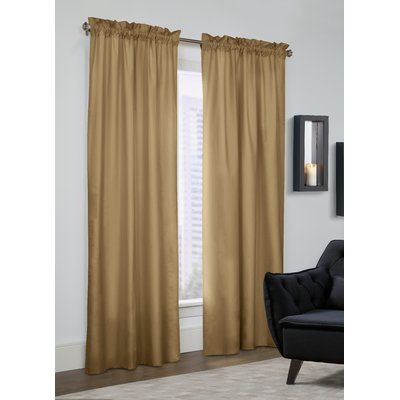 """Alcott Hill George Solid Semi-Opaque Thermal Rod pocket Curtain Panel Size: 40"""" W x 84"""" L, Color: Camel"""