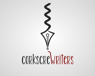 corkscrewriters Logo design - Unique logo idea, fantastic for writers, winery and wine related business. Name and colors can be changed for free. Price $350.00