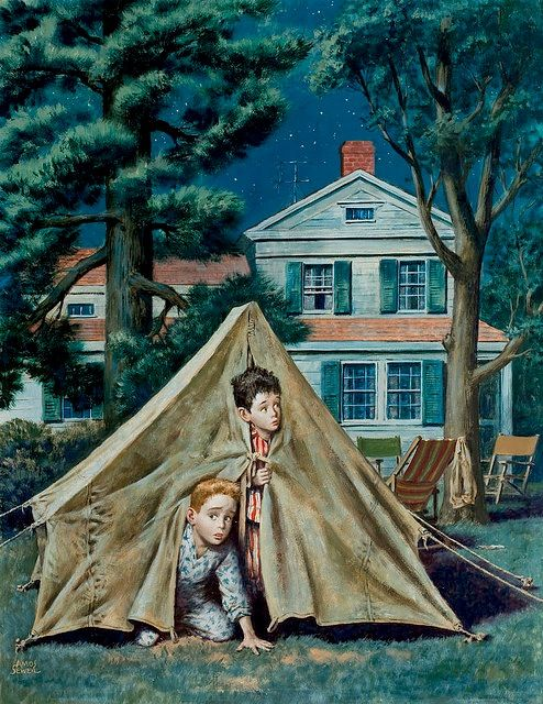 We used to put a tent up in the back yard....tell ghost stories til one of us ran in the house...lol. Fun times in the Summer.