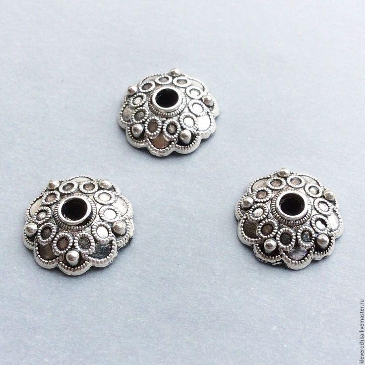 Купить Шапочки 13 мм цвет серебро для бусин для украшений - металлическая фурнитура, металлофурнитура