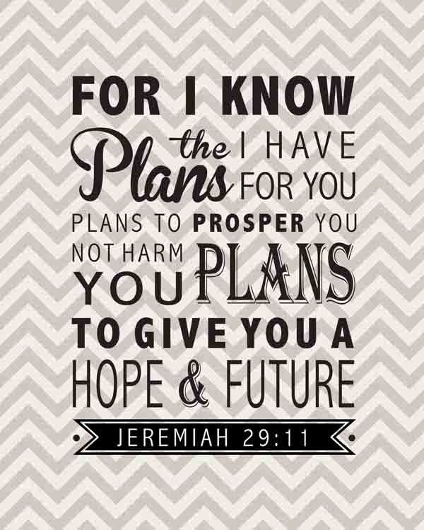 """Jeremiah 29:11 Bible Verse Inspirational Quote Wall Decor Sign 8""""x10"""". $20.00, via Etsy."""